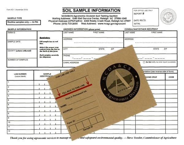 A soil sample information form