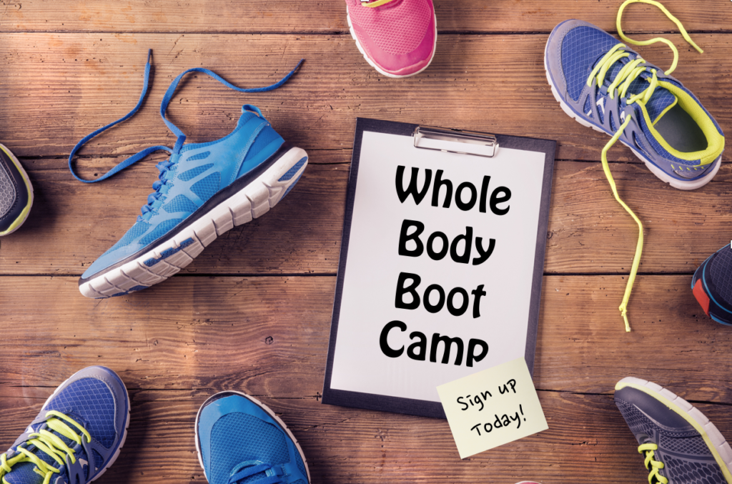 Shoes laying on the floor with a sign saying whole body boot camp, sign up today