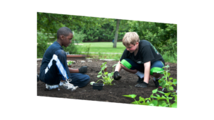 Two youth planting in garden