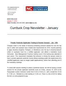Cover photo for Currituck Crop News-January