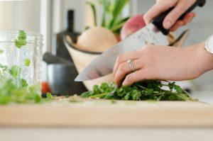 hand knife chopping herbs