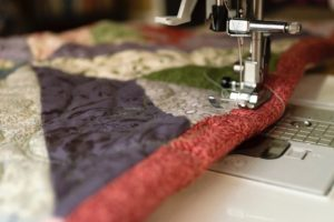 quilt and sewing needle