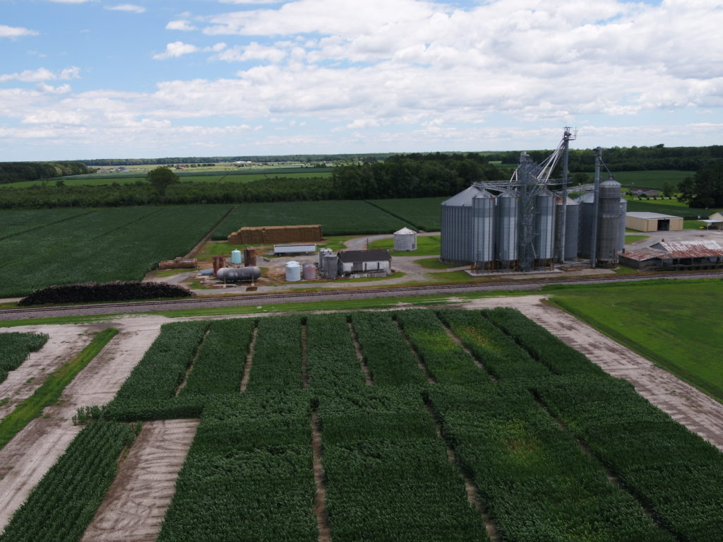 farm fields with grain bins