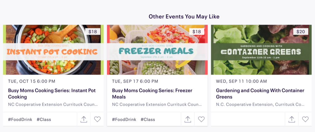 eventbrite page with ads for events