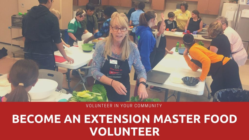 "people working in kitchen with words ""Become an Extension Master Foods Volunteer"""