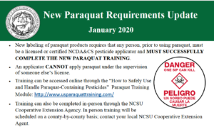 Paraquat regulations handout
