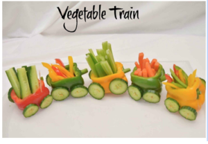 train made out of vegetables