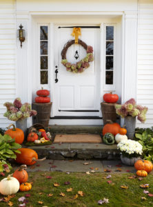 festive fall arrangements at front door