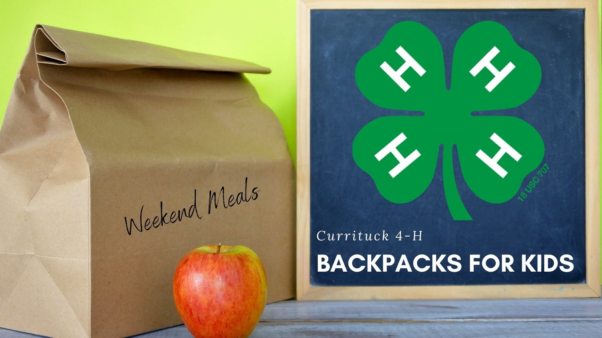 4-H Backpacks with boxed meal and apple