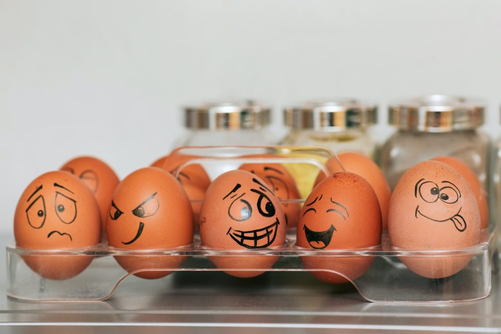 eggs with faces