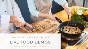 two women cooking & prepping flier for Live Food Demos