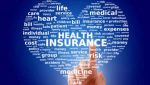 """Heart with words """"Heath Insurance"""" in center , related words surrounding"""