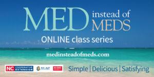 Online Med instead of Meds flyer with beach background