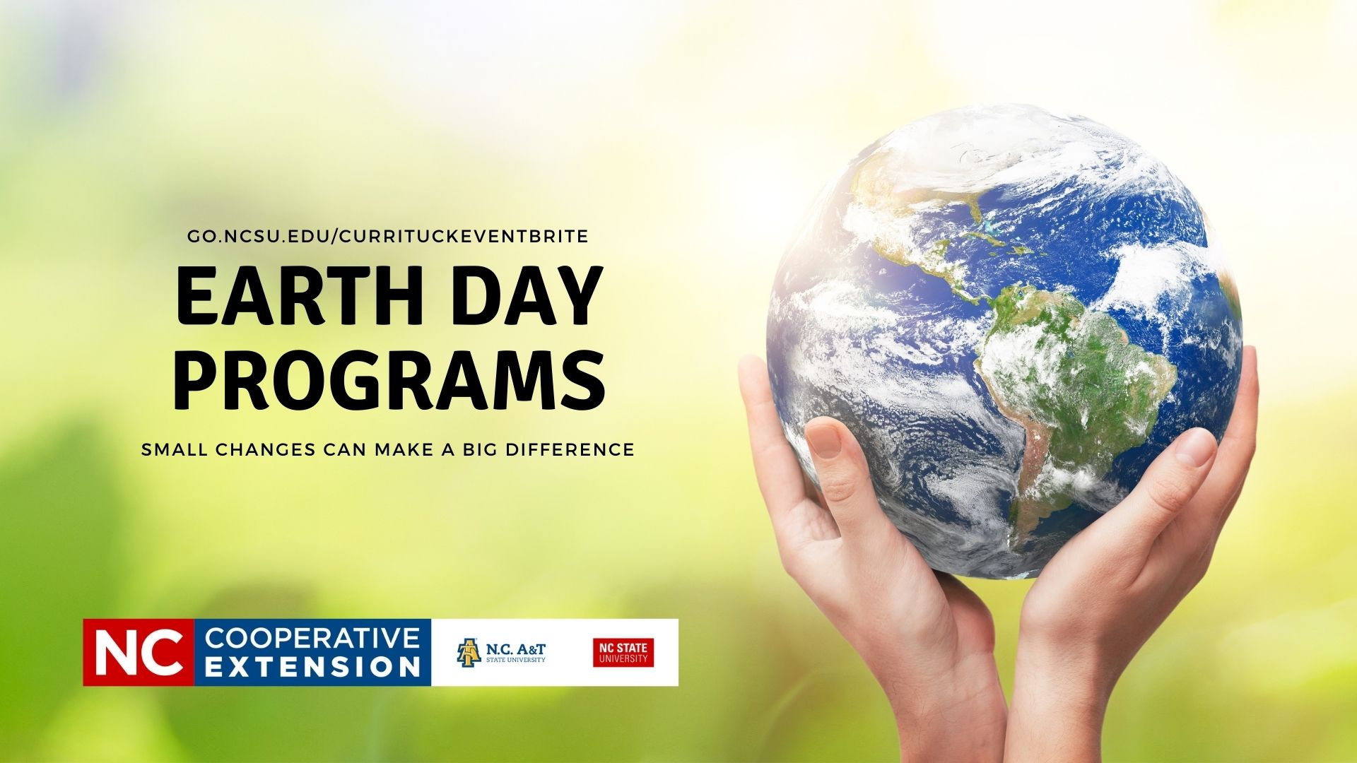 hands holding a small Earth advertising Earth Day Programs