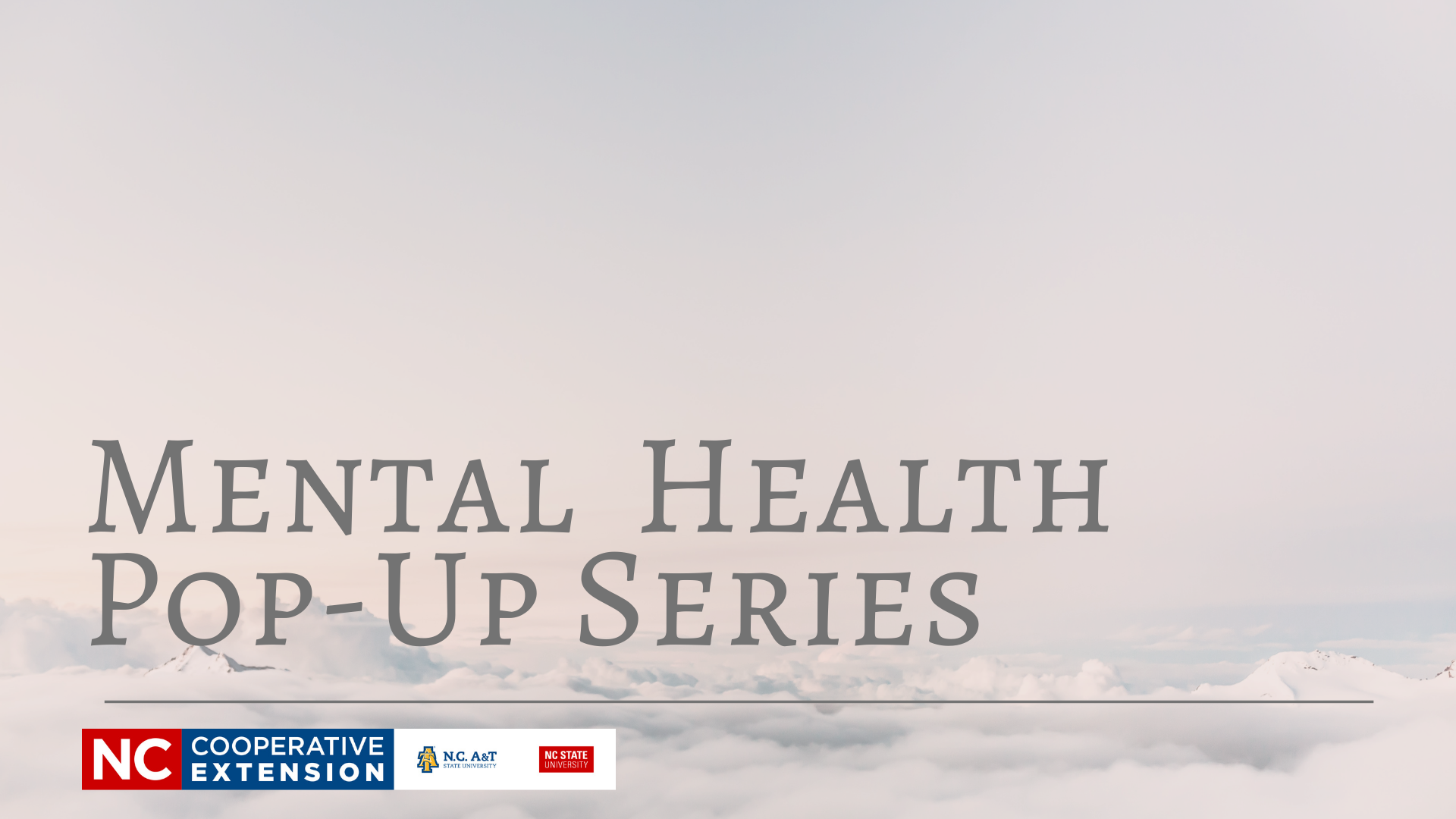 "Cloud background with words ""Mental Health Pop-Up Series"" and pour logo"