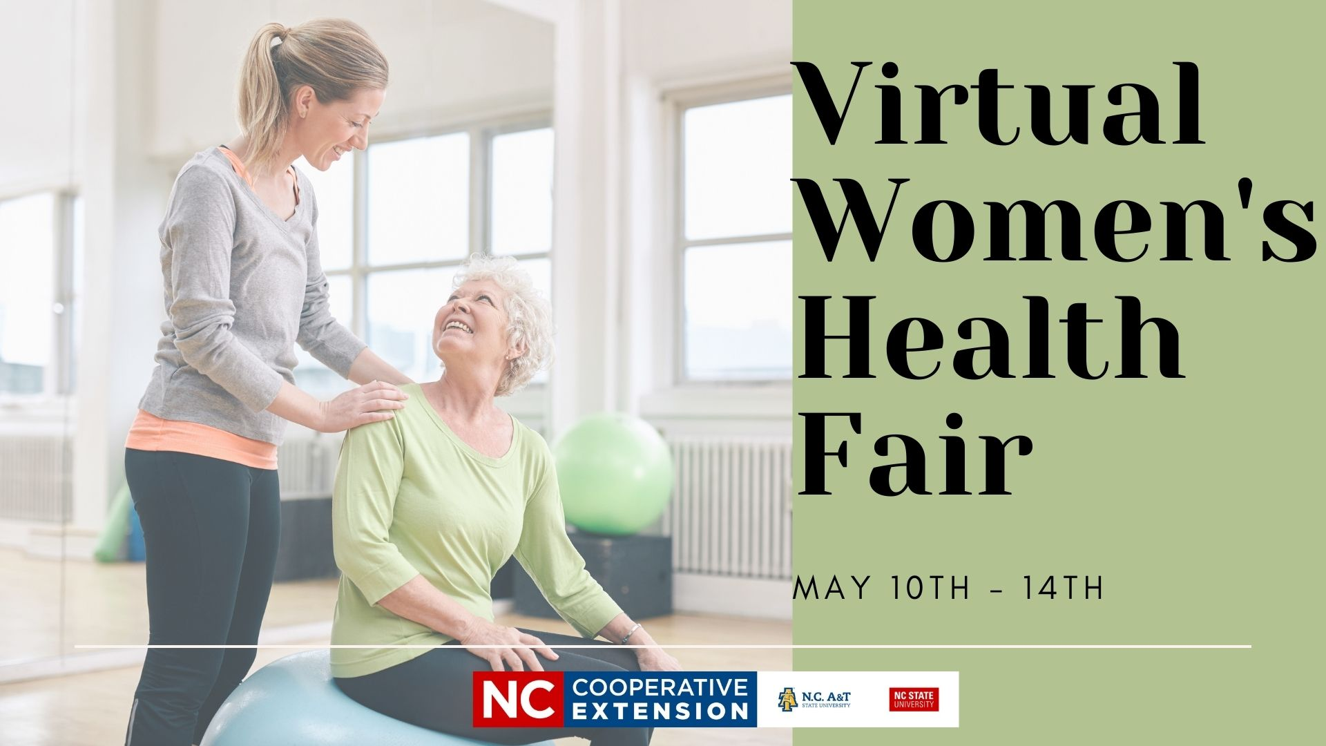 woman sitting on exercise ball-flyer advertising health fair