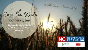 """Farm field in background with """"Save the Date"""" A Celebration of rural Currituck Life"""