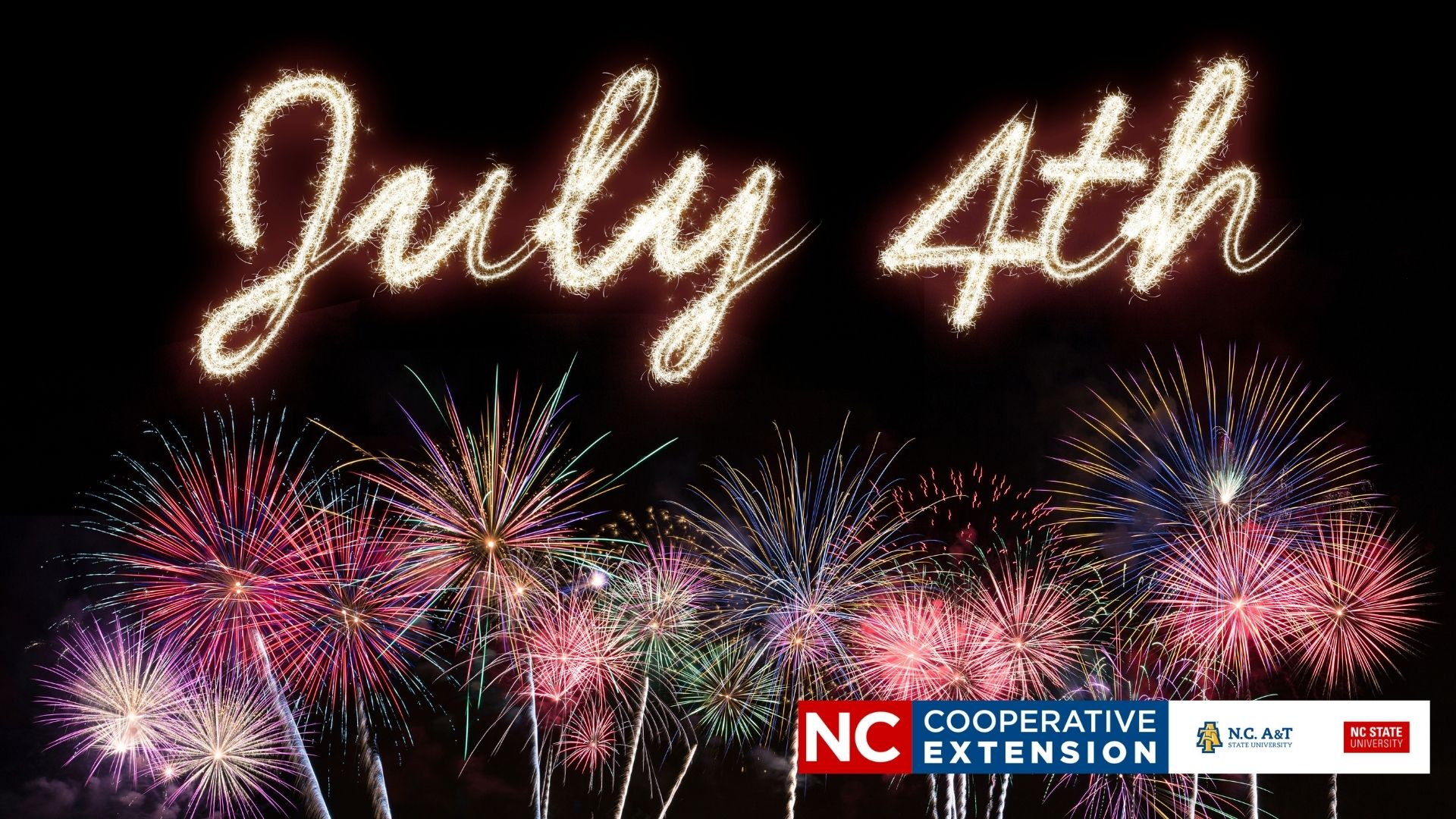 fireworks with gold July 4th and Extension logo