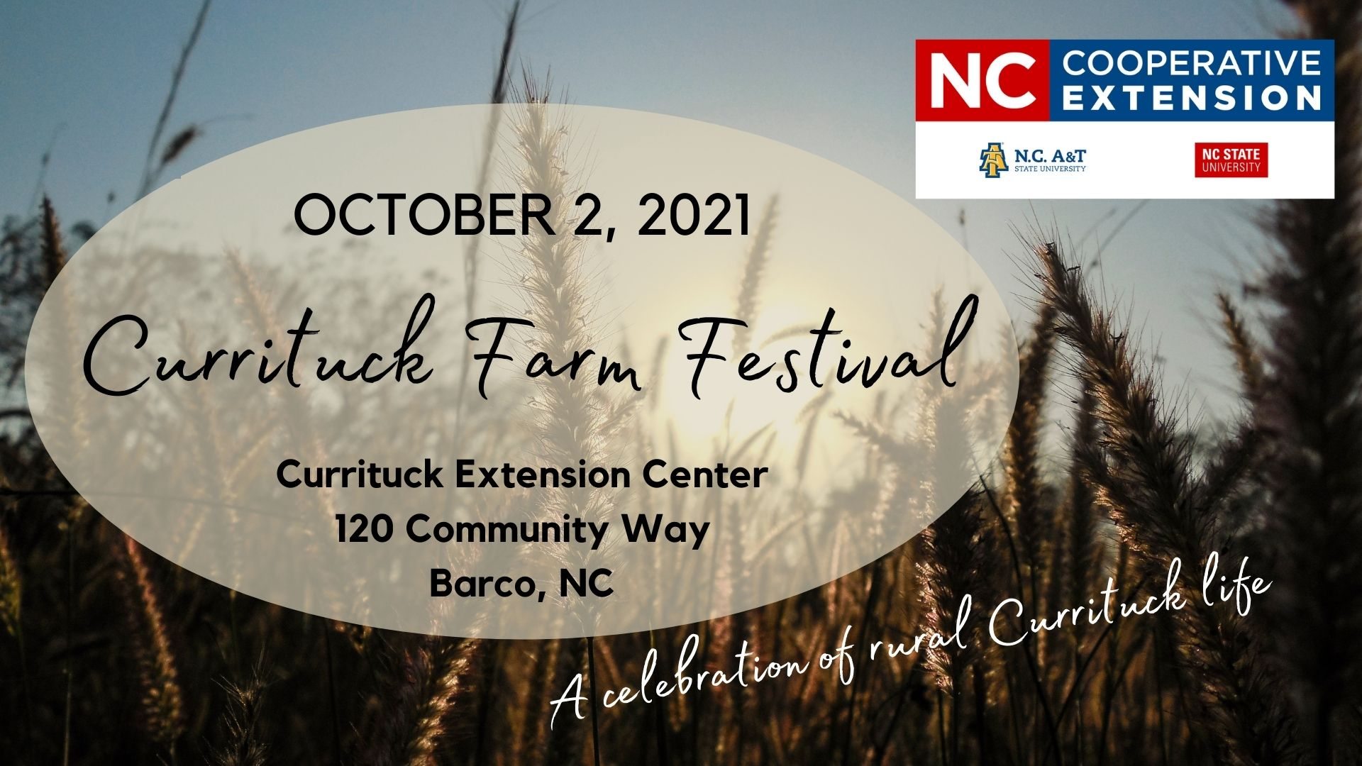 wheat field in background with words advertising Currituck Farm Festival and logos