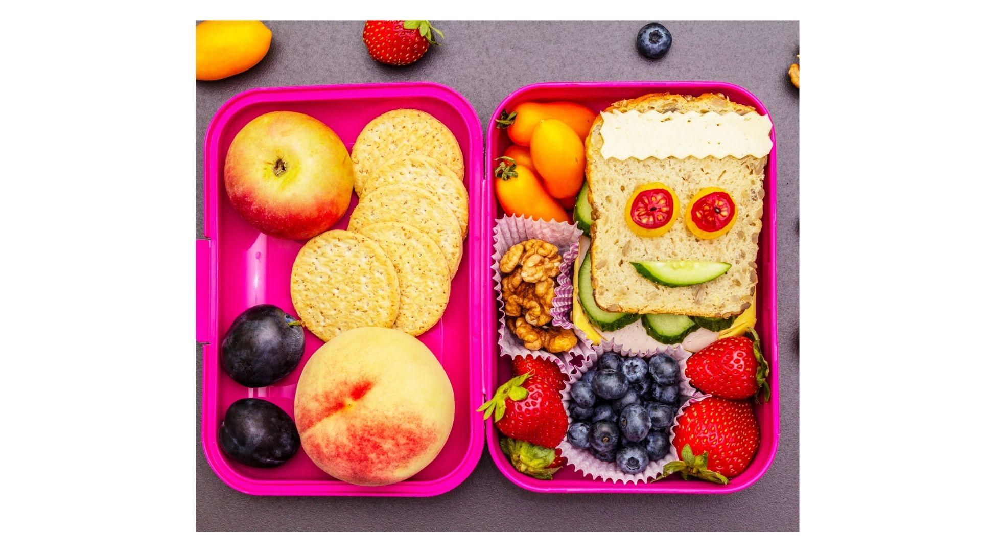 Lunch box packed with a healthy lunch
