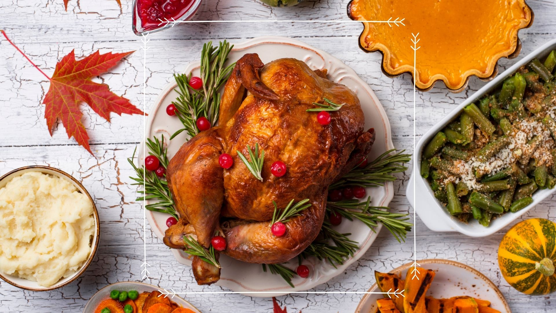 Holiday meal with turkey and sides